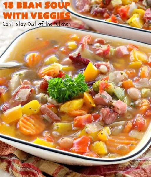 15 Bean Soup with Veggies | Can't Stay Out of the Kitchen | this is one of our favorite #soup recipes. It is sooo delicious. It's #glutenfree & chocked full of #veggies & #beans. #ham