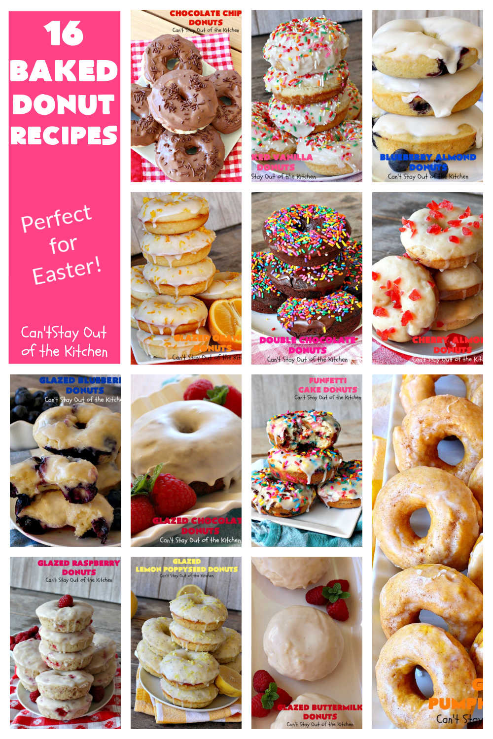 16 Baked Donut Recipes   Can't Stay Out of the Kitchen   16 of the BEST #donut #recipes ever! Perfect for #Easter or other #holiday #breakfasts. #BakedDonuts #donuts #16BakedDonutRecipes