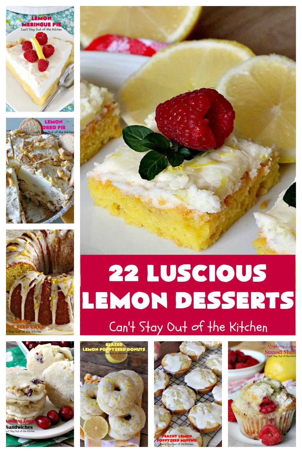 22 Luscious Lemon Desserts   Can't Stay Out of the Kitchen   22 fabulous #lemon flavored #desserts & #muffin #recipes. Includes #pies, #cakes, #cookies & #blondies. If you have a lemon sweet tooth, these terrific desserts are for you!