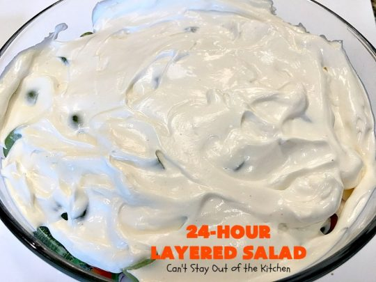 24-Hour Layered Salad | Can't Stay Out of the Kitchen | Wow, I absolutely love this stuff! This #salad has so many layers & tastes absolutely awesome. We love to serve it for potlucks, backyard #BBQs and summer #holidays like #FathersDay, #FourthofJuly & #LaborDay. #bacon #romano #glutenfree