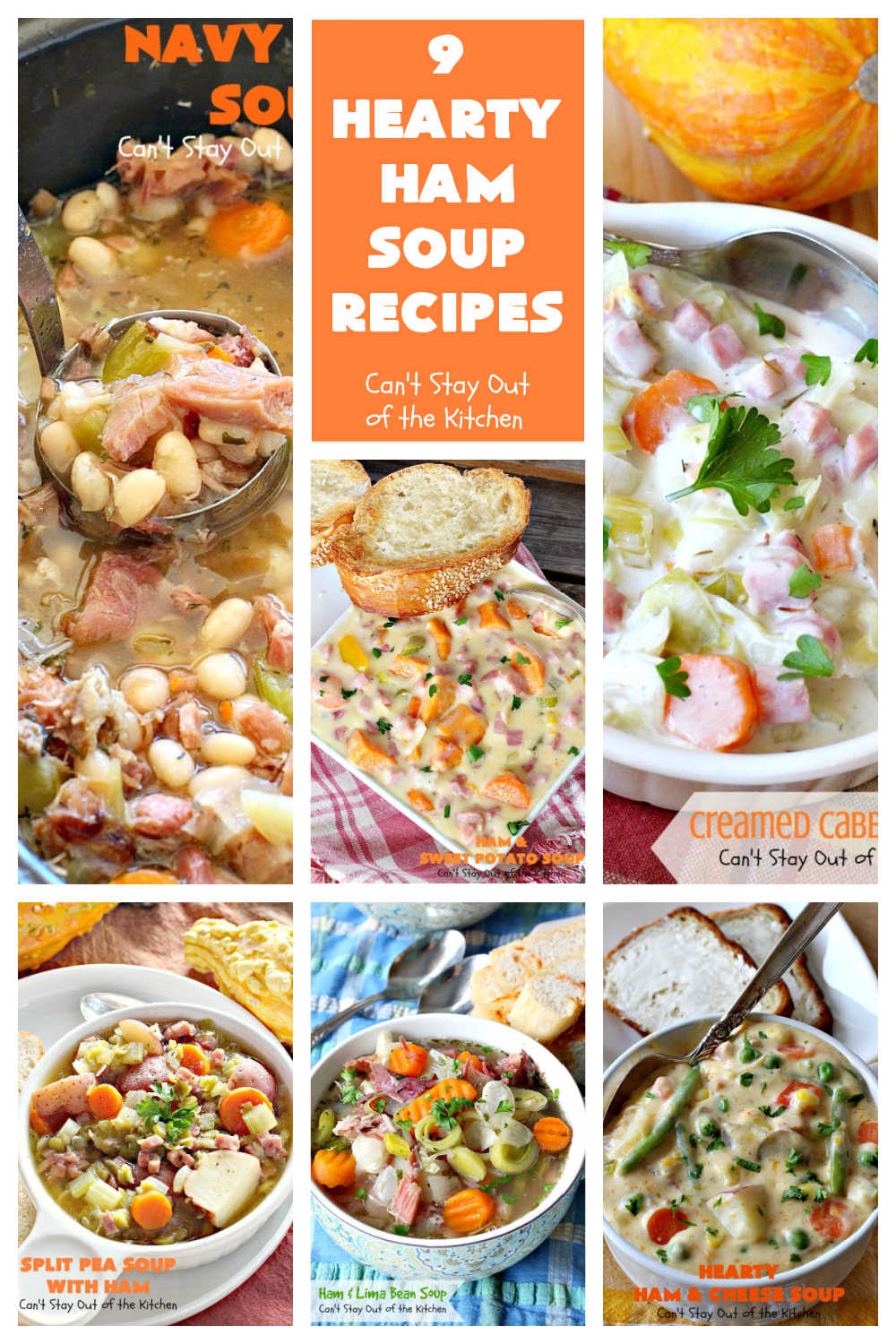 9 Hearty Ham Soup Recipes | Can't Stay Out of the Kitchen | 9 delicious ways to use up leftover #ham from #Easter or other special occasions. These #soup #recipes are hearty, filling & satisfying. Perfect comfort food for winter months. #chowder #HamSoup #HamSoupRecipes #9HeartyHamSoupRecipes
