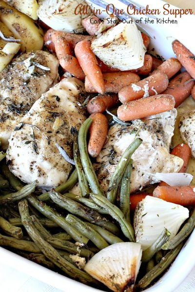 All-in-One Chicken Supper | Can't Stay Out of the Kitchen | fabulous #chicken dinner that's a quick & easy one dish meal. This entree is seasoned to perfection. We loved it. #potatoes #carrots #glutenfree