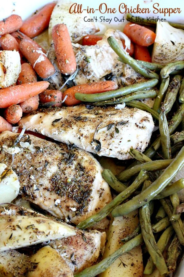 All-in-One Chicken Supper   Can't Stay Out of the Kitchen   fabulous #chicken dinner that's a quick & easy one dish meal. This entree is seasoned to perfection. We loved it. #potatoes #carrots #glutenfree