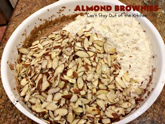 Almond Brownies | Can't Stay Out of the Kitchen | these lush, decadent #brownies are filled with #almonds providing a crunchy texture that's irresistible. Terrific for #holidays like #MemorialDay, #FourthofJuly or #LaborDay. We also like them for potlucks & #tailgating parties. #Chocolate #dessert #ChocolateDessert #AlmondDessert #cookie