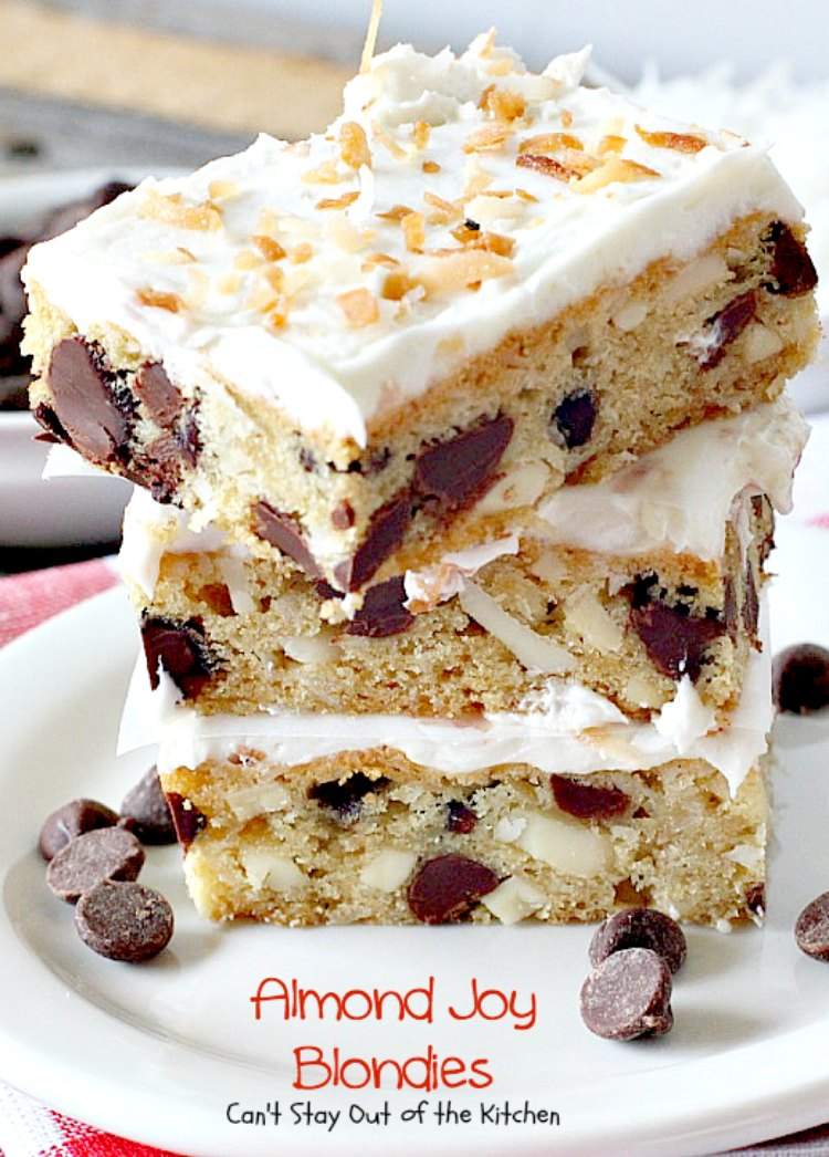 Almond Joy Blondies | Can't Stay Out of the Kitchen | these rich and decadent #cookies are divine. Perfect #dessert for any occasion. The icing is to die for! #chocolate #coconut #almonds
