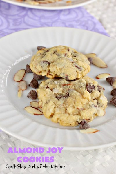 Almond Joy Cookies | Can't Stay Out of the Kitchen | these sensational #cookies are terrific for #holiday #baking and #ChristmasCookieExchanges. They're loaded with #chocolate chips, #coconut & #almonds, just like #AlmondJoy bars. #dessert #chocolatedessert #AlmondJoyDessert #ChristmasCookieBaking #coconutdessert #almonddessert