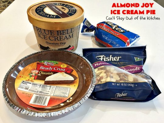 Almond Joy Ice Cream Pie | Can't Stay Out of the Kitchen | this spectacular 4-ingredient #recipe will knock your socks off! It's the ultimate #dessert for #Easter, #MothersDay or other special occasions. It tastes like eating #AlmondJoyBars but in #IceCream form! #AlmondJoyDessert #ChocolateDessert #IceCreamDessert #HolidayDessert #EasterDessert #MothersDayDessert #coconut #almonds #chocolate