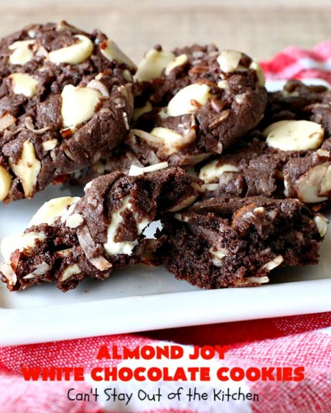 Almond Joy White Chocolate Cookies | Can't Stay Out of the Kitchen | these rich, decadent #cookies are stuffed with the #AlmondJoy flavors of #chocolate, #coconut #almonds & add #WhiteChocolate. They are absolutely outstanding. Terrific for any summer or #holiday party, #tailgating, potluck or backyard BBQ. #dessert #ChocolateDessert #AlmondJoyDessert #AlmondJoyWhiteChocolateCookies