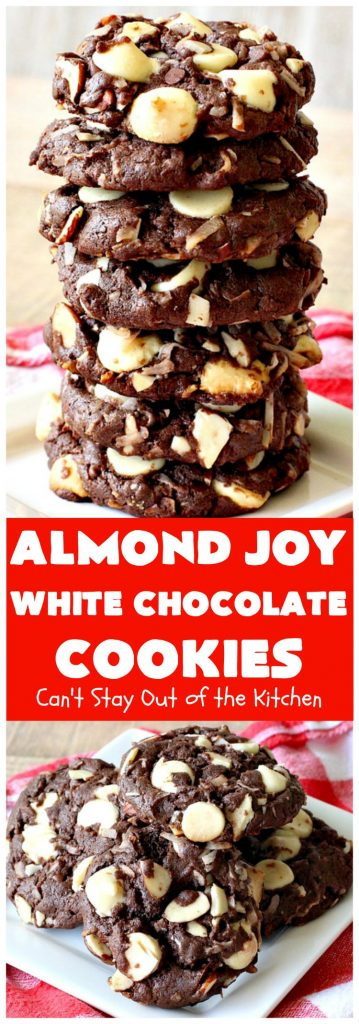 Almond Joy White Chocolate Cookies | Can't Stay Out of the Kitchen
