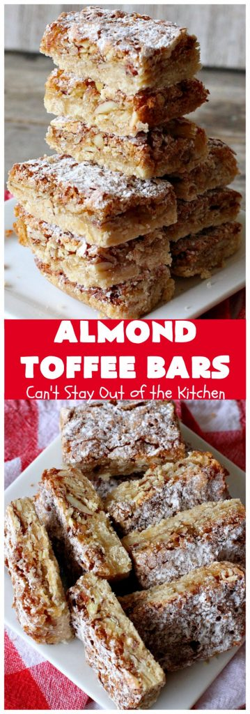 Almond Toffee Bars | Can't Stay Out of the Kitchen | each delicious bar-type #cookie is filled with #toffee, #coconut & #almonds. They're irresistible & so delicious. #dessert #AlmondDessert #ToffeeDessert #HolidayDessert #ValentinesDayDessert #SuperBowlDessert #Tailgating