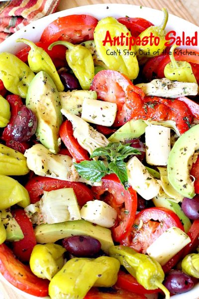 Antipasto Salad | Can't Stay Out of the Kitchen | this amazingly healthy #salad has a delicious, homemade #GreekSalad dressing. #avocados #pepperocinis #mozzarellacheese #glutenfree