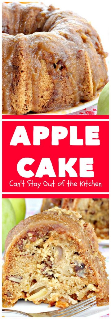 Apple Cake | Can't Stay Out of the Kitchen | This fantastic #apple #cake is filled with apples & #pecans & glazed with a homemade #caramel icing. It's absolutely divine! We serve it for #breakfast as a #coffeecake or for #dessert. #applecake #appledessert