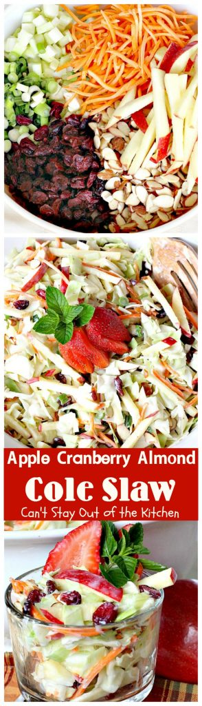 Apple Cranberry Almond Cole Slaw | Can't Stay Out of the Kitchen