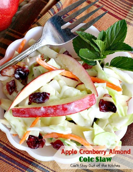 Apple Cranberry Almond Cole Slaw | Can't Stay Out of the Kitchen | this #coleslaw is amazing. It's filled with #apples #almonds #craisins #celery & #carrots in a tasty #Greekyogurt dressing. Healthy, low calorie & #glutenfree. #cabbage