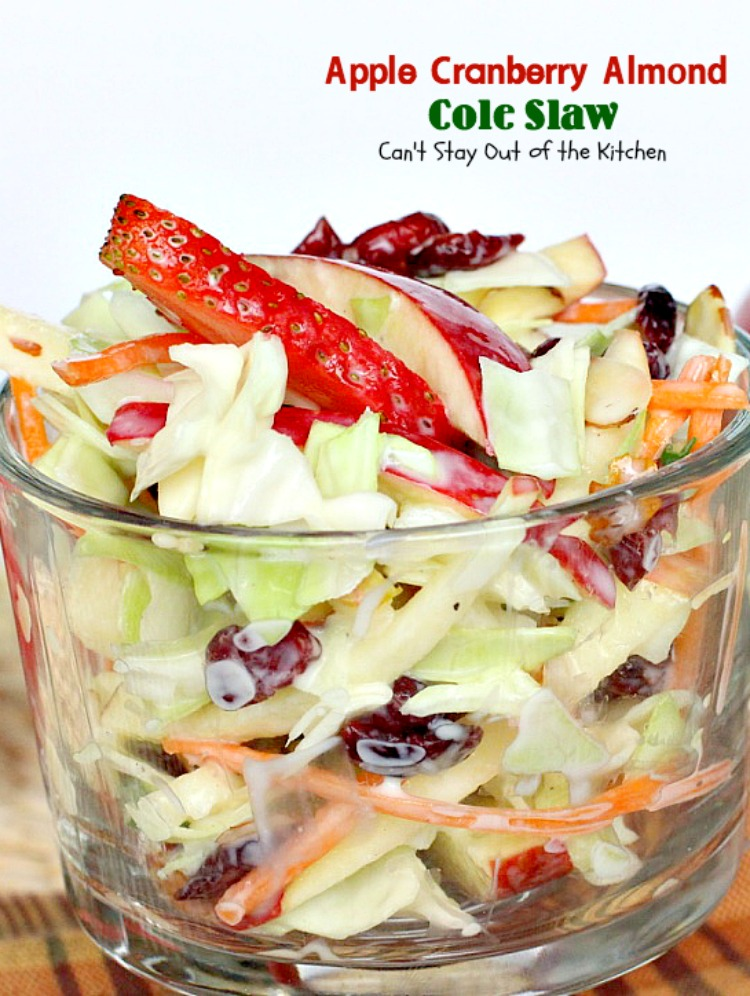 Apple Cranberry Almond Cole Slaw - Can't Stay Out of the
