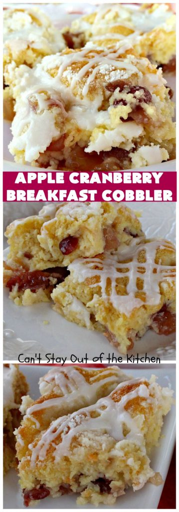 Apple Cranberry Breakfast Cobbler | this amazing #recipe is half #cobbler and half #CoffeeCake. It's made with a can of #AppleCranberryPieFilling & tastes absolutely scrumptious. It's great for a #holiday #breakfast like #Thanksgiving or #Christmas. Every bite will have you drooling! #AppleCranberryBreakfastCobbler #BreakfastCobbler #HolidayBreakfast