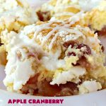 Apple Cranberry Breakfast Cobbler   this amazing #recipe is half #cobbler and half #CoffeeCake. It's made with a can of #AppleCranberryPieFilling & tastes absolutely scrumptious. It's great for a #holiday #breakfast like #Thanksgiving or #Christmas. Every bite will have you drooling! #AppleCranberryBreakfastCobbler #BreakfastCobbler #HolidayBreakfast