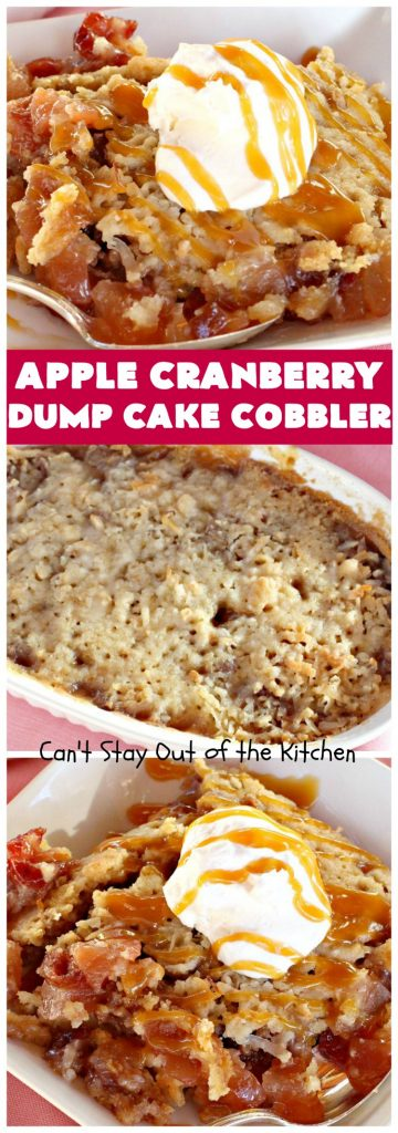 Apple Cranberry Dump Cake Cobbler | Can't Stay Out of the Kitchen | this festive & beautiful #DumpCake #recipe uses only 5 ingredients! It's perfect for a company or #holiday #dessert, especially between #Thanksgiving and #Christmas! #cobbler #AppleCranberryDumpCakeCobbler #coconut #AppleCobbler #AppleCranberryCobbler #pecans