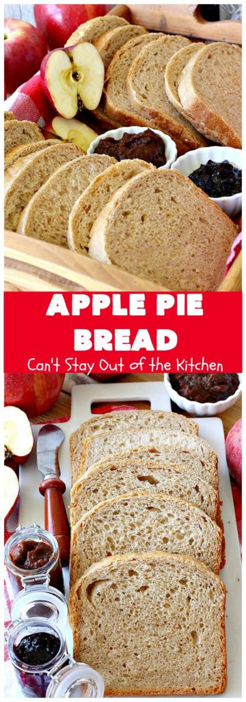 Apple Pie Bread | Can't Stay Out of the Kitchen | this delicious home-baked #bread is sensational. If you enjoy #ApplePie, you'll love it baked up as #HomemadeBread. This #recipe is so easy since it's baked in the #breadmaker. This loaf is terrific for #breakfast or as a dinner bread. #ApplePieBread