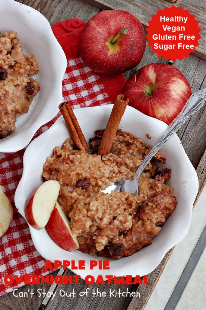 Apple Pie Overnight Oatmeal | Can't Stay Out of the Kitchen | this fantastic #oatmeal #recipe uses steel-cut oats & cooks them up to perfection in the #crockpot. They're filled with #apples & #cinnamon for great #ApplePie flavor. Using a programmable #SlowCooker makes this a wonderful #breakfast idea for a #holiday breakfast too. #healthy, #vegan #GlutenFree #SugarFree #HolidayBreakfast #OvernightOatmeal #ApplePieOvernightOatmeal
