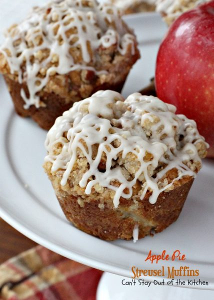 Apple Pie Streusel Muffins | Can't Stay Out of the Kitchen | these spectacular #breakfast #muffins taste like eating #applepie! They are amazing. #apples #pecans