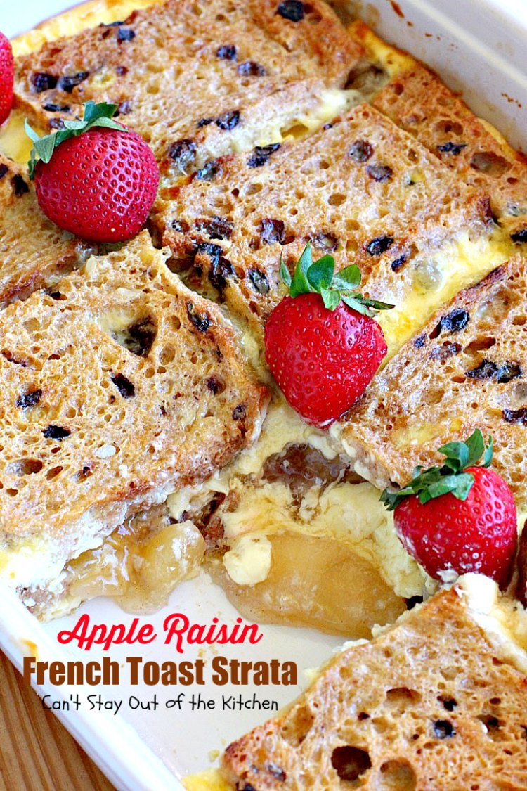 Apple Raisin French Toast Strata | Can't Stay Out of the Kitchen | This amazing #breakfast #casserole is divine! It uses #creamcheese #applepiefilling & #glutenfree cinnamon raisin #bread. Great for #holiday breakfasts.