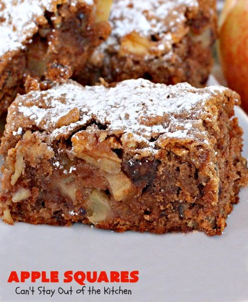 Apple Squares | Can't Stay Out of the Kitchen | this delightful #recipe is just in time for #fall harvest! These #AppleSquares just seem to melt in your mouth. They're a wonderful #dessert for any occasion & not difficult to make. #tailgating #FallBaking #apples #Cookies #brownies #baking #HolidayBaking