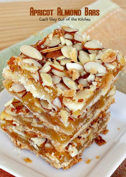 Apricot Almond Bars | Can't Stay Out of the Kitchen | these #cookie bars are fantastic. #Apricot preserves are layered on a shortbread crust and sprinkled with #almonds. We love to make these for the #holidays. #dessert