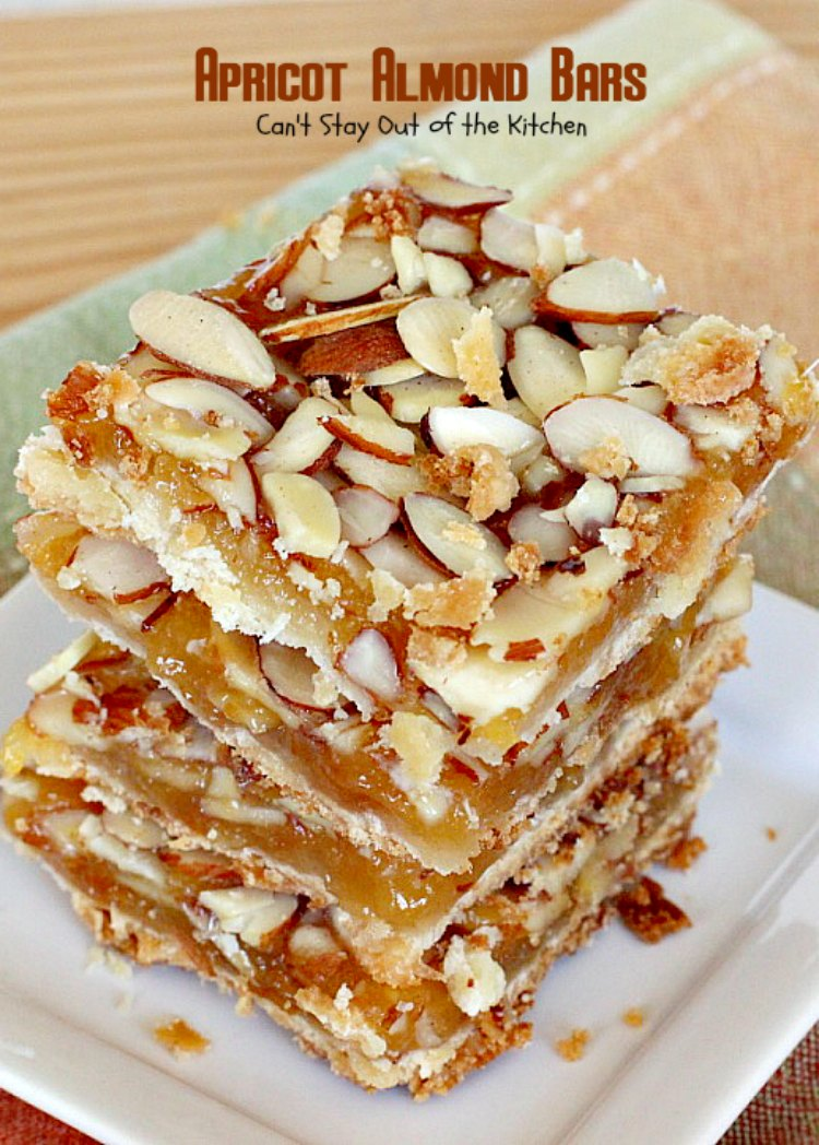 Apricot Almond Bars   Can't Stay Out of the Kitchen   these #cookie bars are fantastic. #Apricot preserves are layered on a shortbread crust and sprinkled with #almonds. We love to make these for the #holidays. #dessert