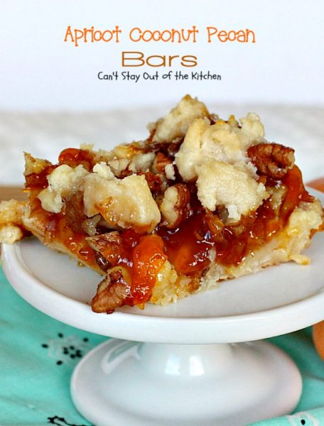 Apricot Coconut Pecan Bars | Can't Stay Out of the Kitchen | exquisite and heavenly #dessert with a #coconut shorbread crust, #apricotpreserves, #pecans & streusel topping. #cookie #apricots