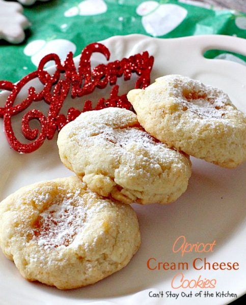 Apricot Cream Cheese Cookies | Can't Stay Out of the Kitchen | these are some of our favorite #christmas #cookies. These thumbprint cookies have #apricot preserves in the center. #dessert