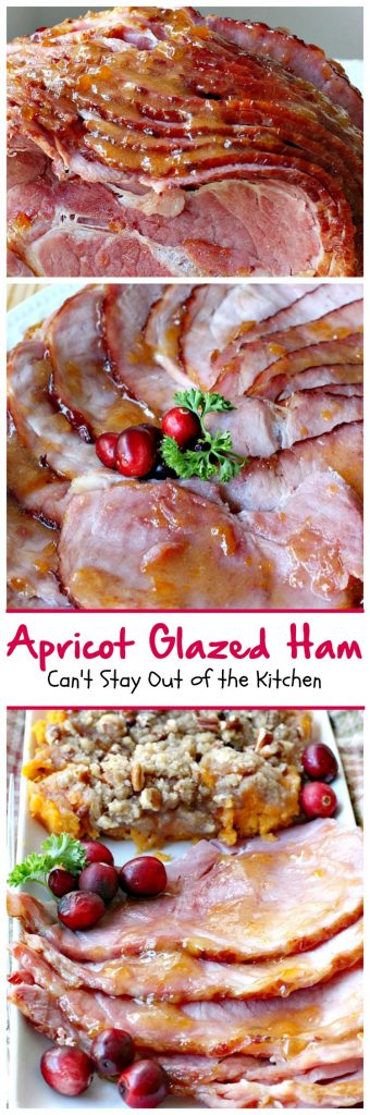 Apricot Glazed Ham | Can't Stay Out of the Kitchen | one of the easiest, most succulent & delicious ways to prepare #ham for #holiday menus. This one gives instructions on how to carve a #spiral-cutham. #glutenfree