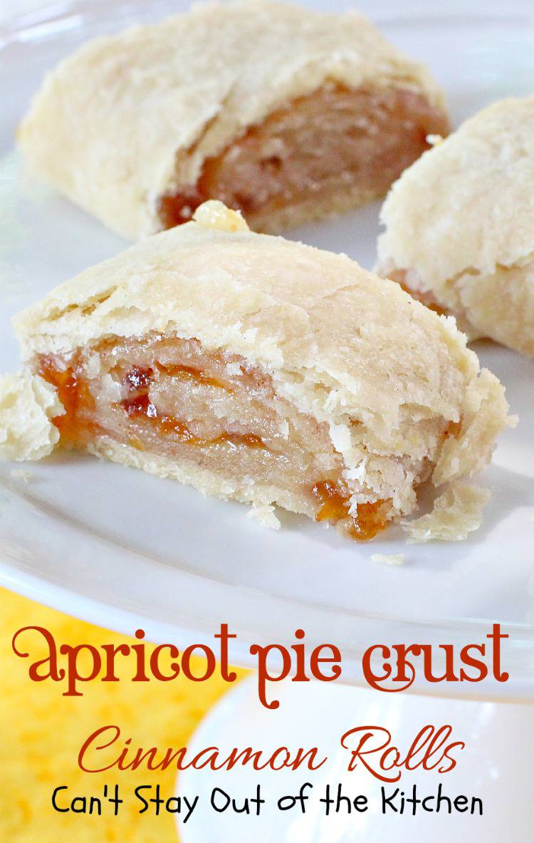 Apricot Pie Crust Cinnamon Rolls   Can't Stay Out of the Kitchen   Wonderful #piecrust #cinnamonrolls that are great for #breakfast or #dessert. #apricotjam