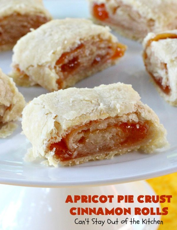 Apricot Pie Crust Cinnamon Rolls | Can't Stay Out of the Kitchen | these fantastic #CinnamonRolls are made with #PieCrust & #ApricotJam. They're really spectacular for a weekend, company or #holiday #breakfast. Every bite will have you drooling! #cinnamon #HolidayBreakfast #Christmas #NewYearsDay #ApricotPieCrustCinnamonRolls