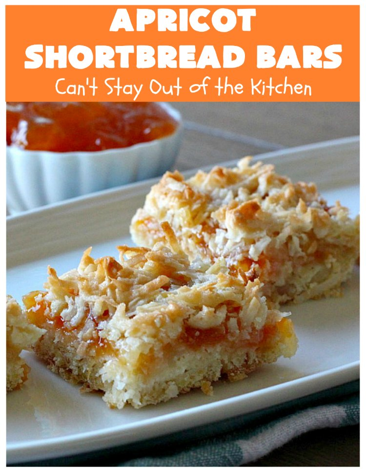 Apricot Shortbread Bars | these luscious #cookies have a #shortbread crust, spread with #Apricot jelly & topped with a scrumptious #coconut topping. Terrific for #tailgating parties, potlucks or #ChristmasCookieExchanges. #dessert #ApricotDessert #HolidayDessert #ApricotShortbreadBars