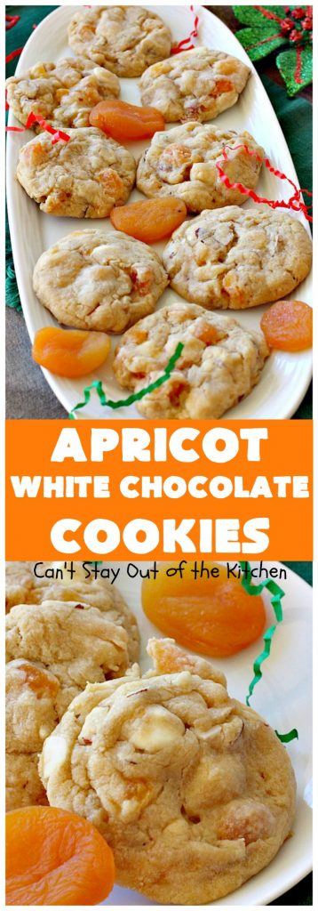 Apricot White Chocolate Cookies | Can't Stay Out of the Kitchen | these fantastic #cookies include dried #apricots, #almonds & white #chocolate chips. They're terrific for #holiday baking & #Christmas cookie exchanges. #dessert