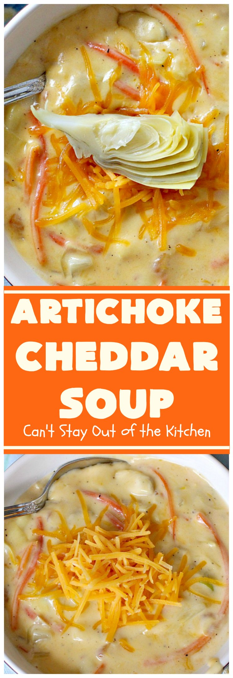 Artichoke Cheddar Soup | Can't Stay Out of the Kitchen | this #soup is comfort food at it's best & only takes 25 minutes to make! It's perfect for week nights now that weather is turning cooler. #artichokes #cheddarcheese #glutenfree