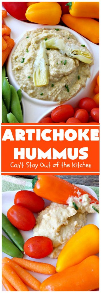 Artichoke Hummus | Can't Stay Out of the Kitchen | this amazing #hummus #appetizer is great for #tailgating parties, potlucks, backyard #BBQs or any family get-together. Healthy & delicious. #vegan #glutenfree #artichokes