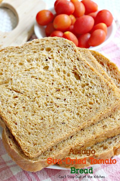 Asiago Sun-Dried Tomato Bread | Can't Stay Out of the Kitchen | delicious #bread that's so easy to make because it's made in the #breadmaker! #sun-driedtomatoes #asiagocheese
