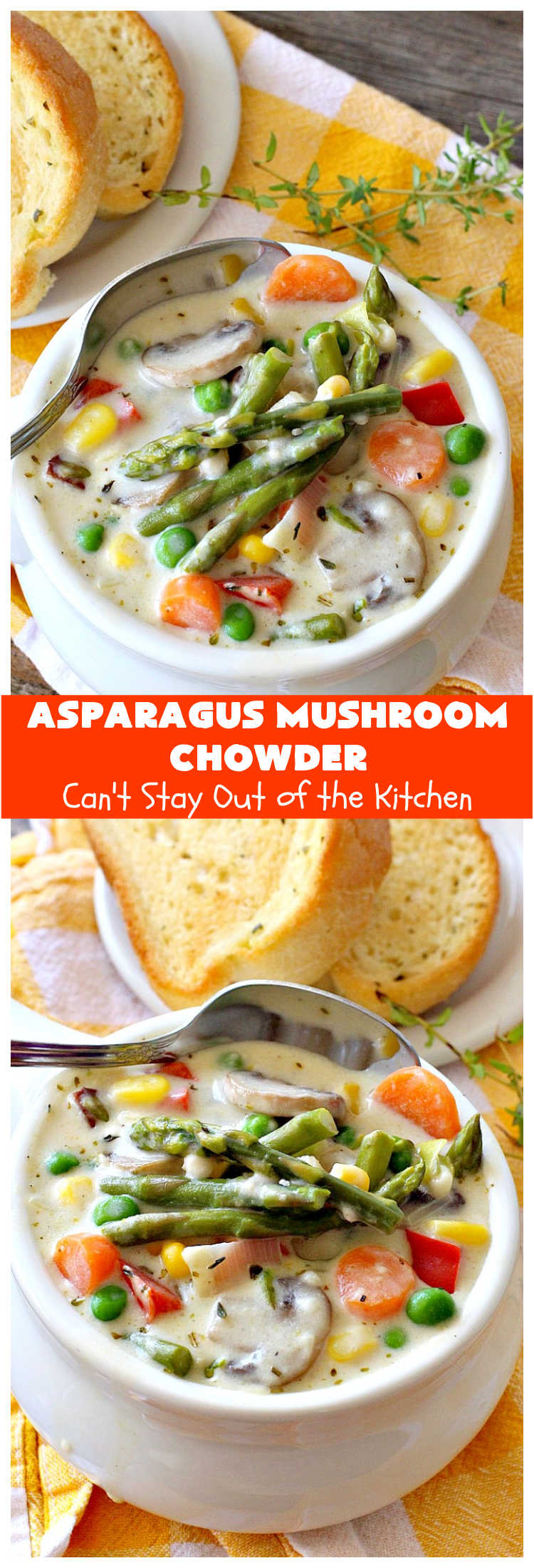 Asparagus Mushroom Chowder | Can't Stay Out of the Kitchen | this spectacular #chowder can be whipped up in 30 minutes. It's perfect for weeknight dinners. While this is a comfort food #recipe it's chocked full of #healthy veggies. Mouthwatering & irresistible! #soup #asparagus #mushrooms #potatoes #carrots #corn #GlutenFree #AsparagusMushroomChowder