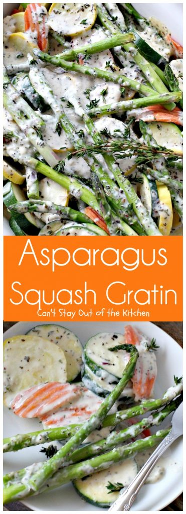 Asparagus Squash Gratin | Can't Stay Out of the Kitchen | amazing side dish with #asparagus #zucchini #carrots & #yellowsquash. This one has a wonderfully flavored cheese sauce. Great for the #holidays. #glutenfree