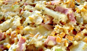 Au Gratin Ham, Potatoes, and Sweet Potatoes