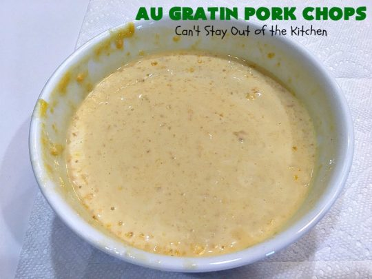 Au Gratin Pork Chops | Can't Stay Out of the Kitchen | fantastic & easy one-dish meal with #AuGratinPotatoes, #GreenBeans & #PorkChops. The sauce packets include #CreamOfMushroomSoup & #CheddarCheeseSoup for exceptionally delicious flavors. #AuGratinPorkChops
