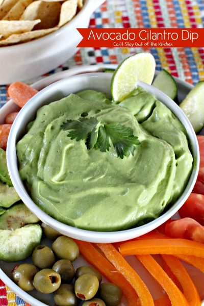 Avocado Cilantro Dip | Can't Stay Out of the Kitchen | one of the BEST #avocado #dips you will ever eat! This one is creamy from #Greekyogurt. #glutenfree #cilantro #appetizer