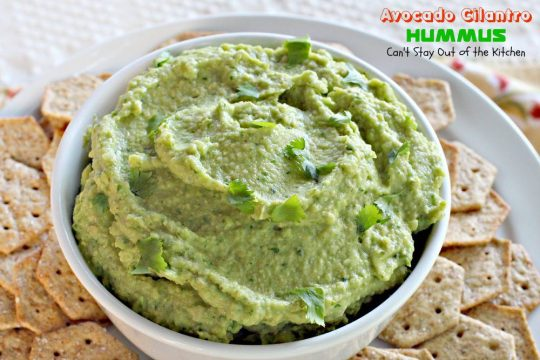 Avocado Cilantro Hummus | Can't Stay Out of the Kitchen | fabulous #hummus recipe with a #Tex-Mex flair. #avocados #glutenfree #vegan #garbanzobeans #appetizer
