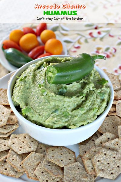 Avocado Cilantro Hummus | Can't Stay Out of the Kitchen
