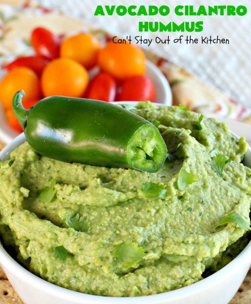 Avocado Cilantro Hummus | Can't Stay Out of the Kitchen | this fantastic #TexMex #appetizer is irresistible. It includes #avocados, #ChickPeas, #Cilantro & a little #Jalapeno. It's terrific for #tailgating parties, potlucks, #LaborDay parties or anytime you want a #healthy, #LowCalorie, #GlutenFree, #Vegan & delicious snack. Serve with #VeggieDippers for a #CleanEating #recipe. #AvocadoCilantroHummus #hummus #GarbanzoBeans #VeganAppetizer #GlutenFreeAppetizer