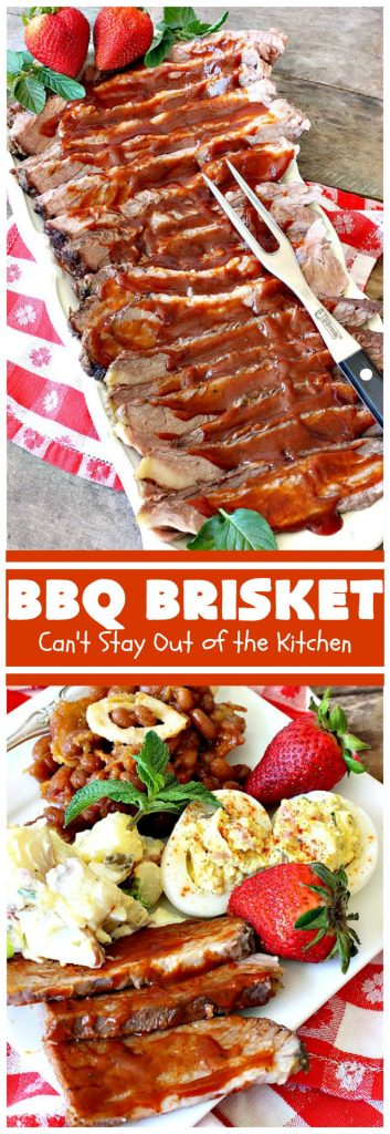 BBQ Brisket | Can't Stay Out of the Kitchen | best #BBQBrisket ever! This 5-ingredient recipe is perfect for summer #holiday fun like #MemorialDay, #FathersDay, #FourthofJuly or #LaborDay. Step-by-step pictures on how to cut the #brisket after it's cooked. #Beef #BBQ