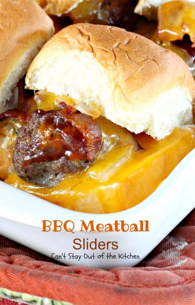 BBQ Meatball Sliders | Can't Stay Out of the Kitchen | these outrageous #sliders are filled with cheesy #meatballs, dipped in #BBQsauce, smothered in #bacon and onions, topped with #cheese on #King'sHawaiianSweetRolls! AMAZING!