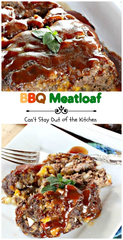BBQ Meatloaf | Can't Stay Out of the Kitchen | this sensational #meatloaf is filled with #cheese and topped with your favorite #BBQ sauce for scrumptious, unbeatable flavor. #beef